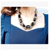 2014 Wholesale New Style Fashion Women Statement Necklace Classical Chunky Black Stone Choker Necklace FN0377