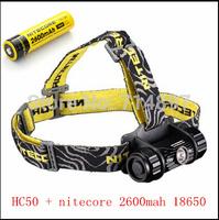 free shipping Nitecore HC50 headlamp CREE XM-L L2 LED 565 Lumen double red light Headlight +nitecore nl186 2600mah 18650 battery