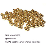 0.02-0.05usd /Beads Free shipping Metal Brass Smooth Round BALL bead 5x4.5mm w/1.6mm&2.4mm holes raw