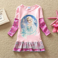 2014 New Arrival Princess dresses Girls frozen dress Kids Elsa's Lace dress Baby Printed Dresses Children Cartoon Clothing