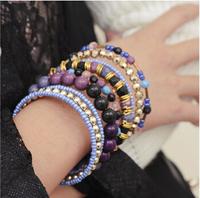 Wholesale New Fashion Retro Vintage Bracelet Jewelry Bohemian Style Multilayer Stretch Beads Women Bracelet FB0256
