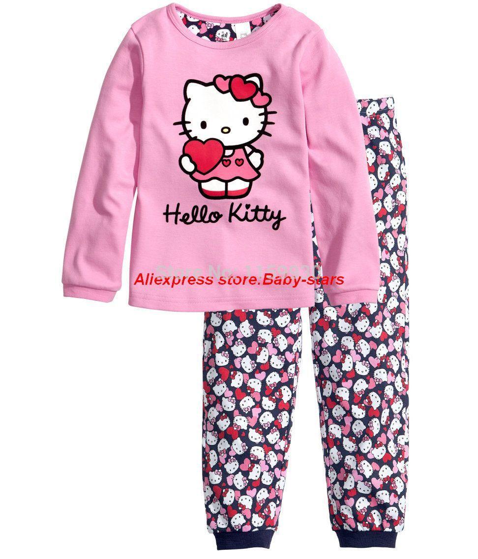new 2014 Hello kitty kids long-sleeve pajama sets girls cartoon cotton clothing Set sleepwear 2-7 age Professional Store(China (Mainland))