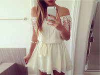 ONY New 2014 European Style Off Shoulder White Chiffon Sexy Dress Women Vestidos