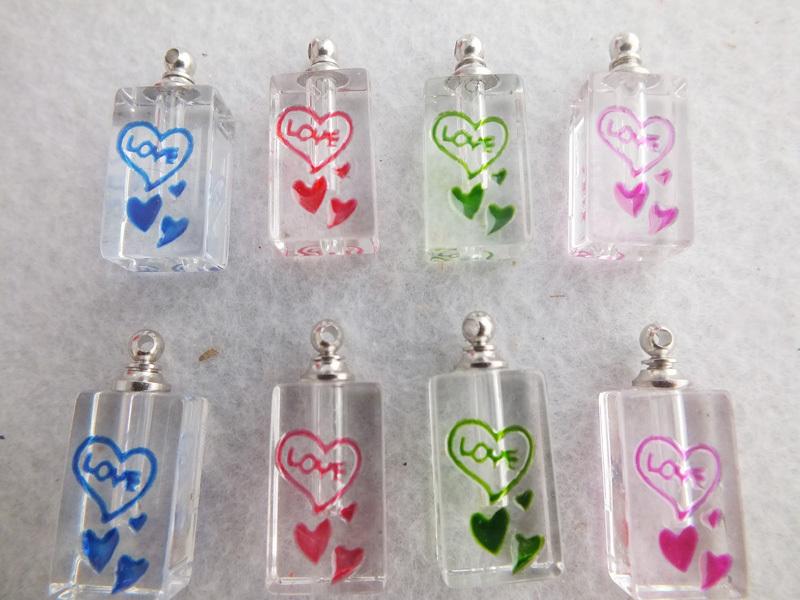 Frete grátis !! ame o coração pingente de cristal Perfume encantos frascos de arroz 26 * 12 milímetros A- 2755(China (Mainland))