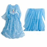 2014 New Autumn Frozen Dress Long Sleeve Fashion Princess Girls Dresses Girl Elsa Dress With Cloak 5 pcs / lot 1365