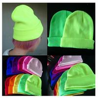 12Color Hot Sale 2014 Fashion Knitted Neon Women Beanie Girls Autumn Casual Cap Women's Warming Winter Hats Unisex Free Shipping