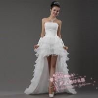 Women Low-high 2014 wedding the bride vestido de noiva long back dress