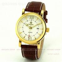 MINGEN SHOP - Noble Men Elegant Coffee Faux Leather White Dial Sport Quartz Date watch Q657
