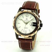 MINGEN SHOP - Elegant Rose Gold Case White Dial Faux Leather Date Men Sport Quartz Cuff Watch Q653