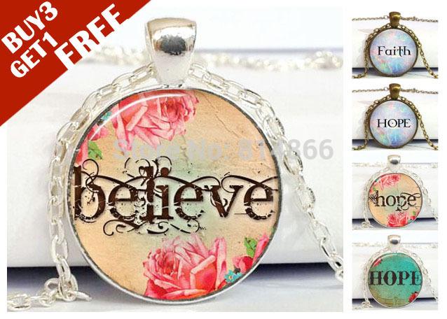 Faith Believe Hope Handcrafted Keepsake Pendant - Religious Christian Jewelry - Spiritual Jewellery Glass Dome Art Necklace(China (Mainland))