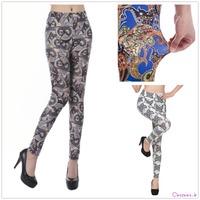 2014 Black Fitness Workout Leggings Women's Pencil Pants Animals Elephant Owl Butterfly Printed Leggins UY9233/9259/9518