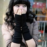 Autumn Winter lady longer Section Mittens Half Finger knitted  Gloves Arm Sleeve Fingerless Black Christmas Gift Trendy  Unisex