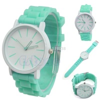 D19 hot-selling newest Fashion Women Geneva Silicone Rubber Jelly Gel Quartz Casual Sports Wrist Watch Free Shipping