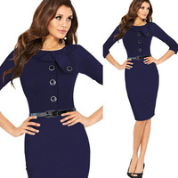 New 2014 Women Dress Buisness Elegant Knee-Length Button Tunic Evening Party Bodycon Sheath Winter Dress Free Shipping
