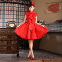 Eno wedding dresses bridal short cheongsam wedding design evening dress formal dress red high waist maternity