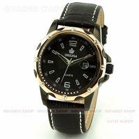 MINGEN SHOP - Noble Men Rose Gold Case Black Dial Faux Leather Date Sport Quartz Cuff Watch Q654