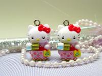 10 pieces Hello Kitty in Kimono with Pot Charm Pendant Cute DIY Accessories ALK436 Wholesale