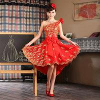 Bridal evening dress 2014 slim short design evening dress fashion lace one shoulder red short skirt