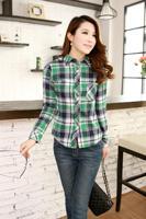 Spring and autumn plaid shirt women's skin-friendly long-sleeve shirt slim women's shirt basic shirt