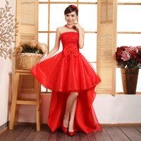 Girls novelty dress dress bridal wear bridesmaid dress red marry evening dress short design