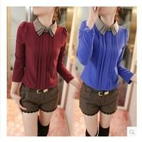 E-Unique New 2014 Women'S Autumn Shirt Slim Color Block Shirt Basic Peter Pan Collar Long-Sleeve T-Shirt Chiffon Top Shirt WB18