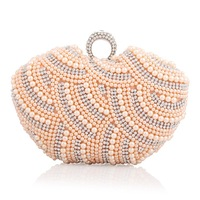 Brand new 2014 ladies handbags fashion exquisite pearl lovely dinner bag unique workmanship ladies dinner hand bag