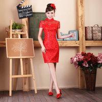 Fashion cheongsam girl party dress vintage fashion paillette lace bag bride slim stand collar cheongsam