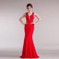 Double-shoulder deep V-neck racerback slim fish tail short trailing lace bride dress evening dress big red