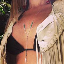 Fashion Bohemian Jewelry Turquoise Necklace Silver Feather Necklace Turquoise Beaded Necklace