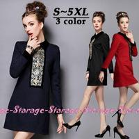 L-XL High-quality Brand Ladies Black Sequin Beaded Patchwork Long Sleeve Mini Dresses 2014 Autumn Plus Size Women Clothing 0231