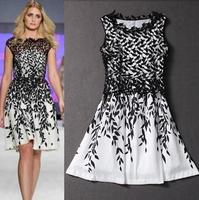 hot 2015 summer new women fashion  lace Vintag dress leaf print  even dresses  woman Parti  Dress Cccktail Brand Black White