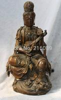 """15"""" Chinese Bronze Carved Kwan-yin Guanyin Hold Ruyi Seat Lotus Buddha States"""