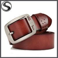 100% cowhide genuine leather belts for men brand Strap male pin buckle fancy vintage jeans cowboy cintos freeshipping