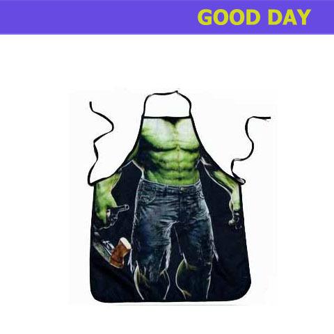 Funny aprons muscular Hulk Green skin man Movie hero apron(China (Mainland))