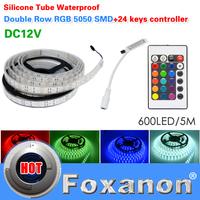 Foxanon Brand 5050 RGB Double Row Led Strip Light 120LED/M 600LED DC12V  Waterproof 24key  Controller Flexible Lamps5M/Roll