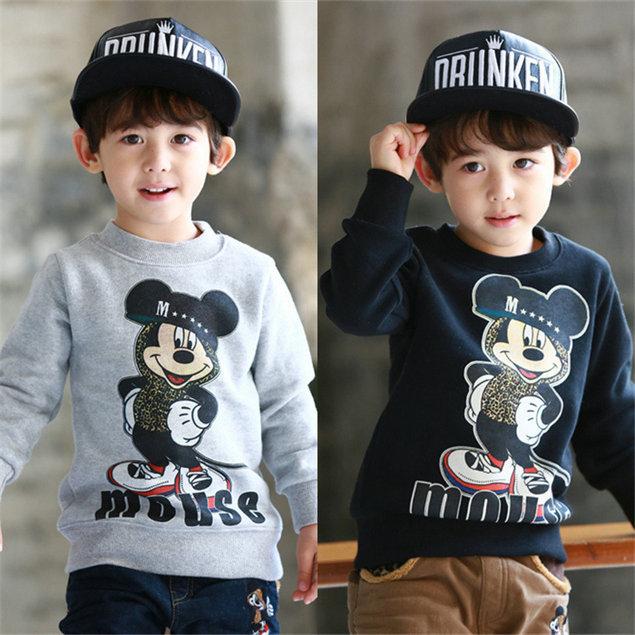 2014 New Winter Tops Tees Baby Boys Mickey T-shirt Kids Fleece t-shirts Baby Warm tshirt Children Cartoon Clothing for 2-7T(China (Mainland))