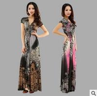 New summer beach dress, leopard mopping bohemian long dress, big yards V- neck sexy ice silk dress