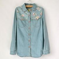 2015 spring Autumn High quality Women  long-sleeved denim blue floral Print blouse shirts Women Jeans shirt Jacket