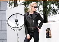 2014 New women fashion PU leather original locomotive coat lapels women's leather coat short jaecket