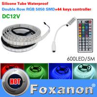 Foxanon Brand 5050 RGB Double Row IP65 Waterproof Led Strip Light 120LED/M 600LED DC12V 44key Controller Flexible Lamps5M/Roll