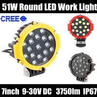 "2pcs 51w Round Led Light 7"" Spot Work Off Road Fog Driving Roof Bar Bumper 4x4 Car light source,Car covers,led car"