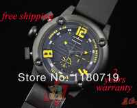New Welder Oversize Men's K28 7104 Chronograph Black Ion-Plated Stainless Steel Yellow Index Round Watch K28-7104