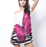 Loose short-sleeved summer dress, butterfly print dress, O- neck ice silk dress