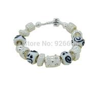 PB1000 XMAS New Arrival, Free shipping Fashion Bracelet Jewelry, 925 Silver Beads Charm Bracelet, Wholesale Glass Beads Bracelet