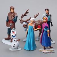 Free Shipping Frozen Dolls Elsa Anna Olaf Hans Kristoff SvenMini PVC Action Figures Toys 6pcs/set