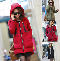 M-5XL New 2014 Brand Long Winter Coat Women's White Duck Down Jacket Female Parka With Hood Army Green Black Outwear For Women