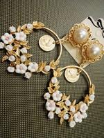 Baroque exaggerated flower pendant earrings pierced earrings female flowers