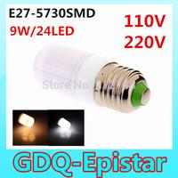 Free shipping 2pcs E27-9W-24LEDS- 5730SMD Waterproof Home Lighting LED Corn Bulb Light Lamp White/Warm White