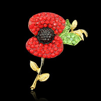 (500 pcs/lot) Free DHL Cheap Wholesale Lot Very Beautiful Sparkle Red Crystal Rhinestone Poppy Brooch Pins UK Remembrance Day