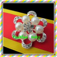 wholesale fashion style wedding decorative rhineston and pearl brooch